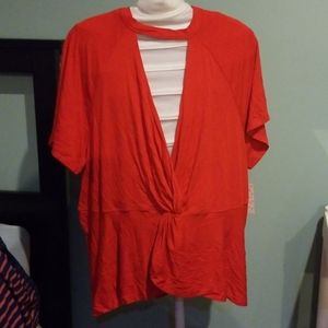 Free people just a twist top red Size L NWT